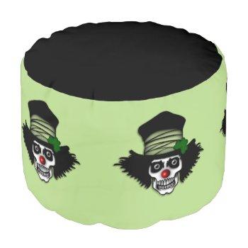 Irish Skeleton Clown Green Pouf