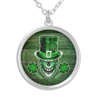 Irish Skull 3: Laughing Leprechaun Silver Plated Necklace