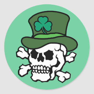 Irish Skull Classic Round Sticker
