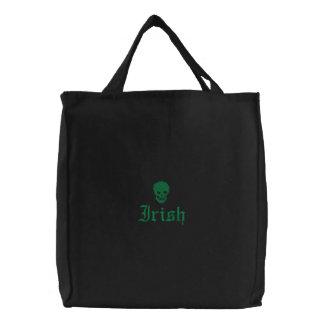 Irish Skull Embroidered Tote Bag