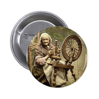 Irish Spinner and Spinning Wheel. Co. Galway, Irel 2 Inch Round Button