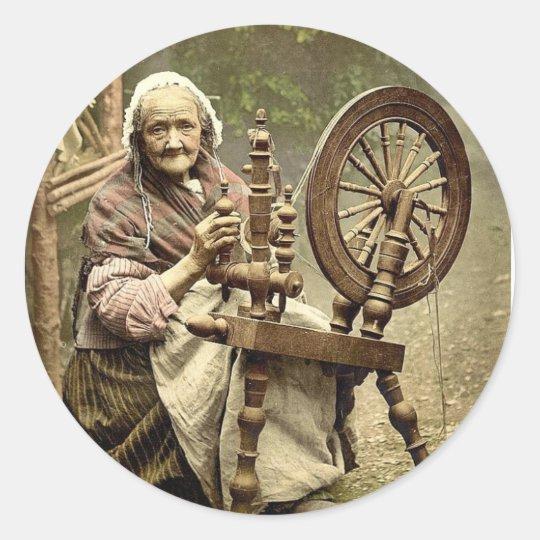 Irish Spinner and Spinning Wheel. Co. Galway, Irel Classic Round Sticker