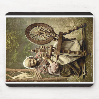 Irish Spinner and Spinning Wheel. Co. Galway, Irel Mousepads