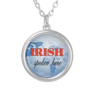 Irish spoken here cloudy earth silver plated necklace