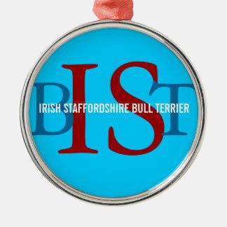 Irish Staffordshire Bull Terrier Monogram Christmas Tree Ornaments