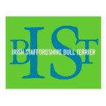 Irish Staffordshire Bull Terrier Monogram Postcard