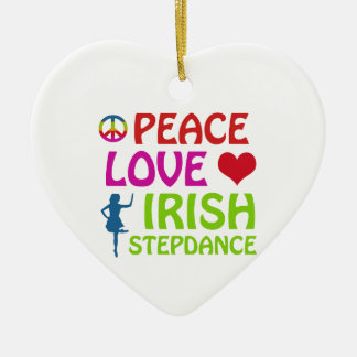 irish Step dance designs Double-Sided Heart Ceramic Christmas Ornament