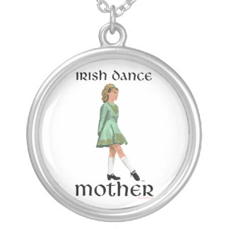 Irish Step Dance Mother - Green Silver Plated Necklace