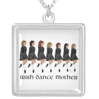 Irish Step Dance Mother - Line of Dancers Silver Plated Necklace