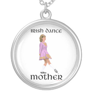 Irish Step Dance Mother - Pink Silver Plated Necklace
