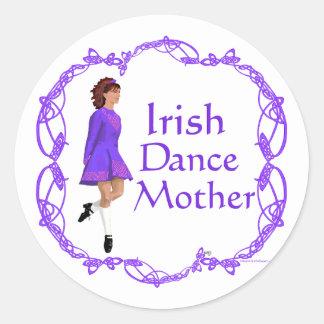 Irish Step Dance Mother - Purple Classic Round Sticker