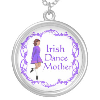Irish Step Dance Mother - Purple Silver Plated Necklace