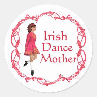 Irish Step Dance Mother - Red Classic Round Sticker