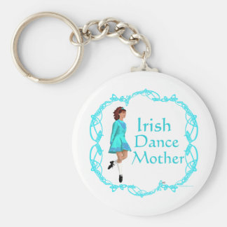Irish Step Dance Mother - Turquoise Basic Round Button Keychain