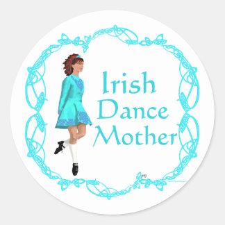 Irish Step Dance Mother - Turquoise Classic Round Sticker