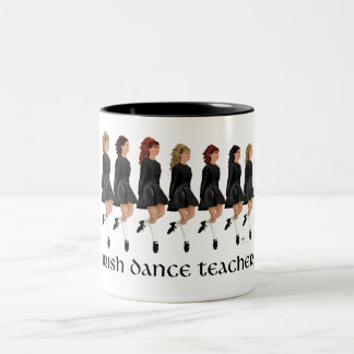 Irish Step Dance Teacher - Black Line Two-Tone Coffee Mug