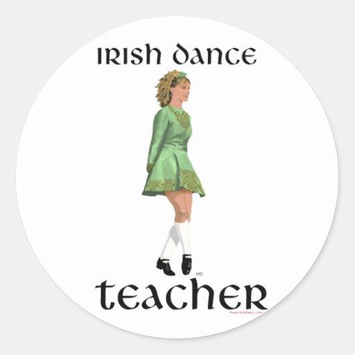 Irish Step Dance Teacher - Green Classic Round Sticker