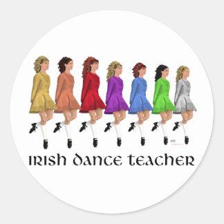 Irish Step Dance Teacher - Rainbow Classic Round Sticker