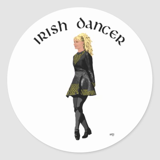 Irish Step Dancer - Black Dress, Light Blonde Hair Sticker