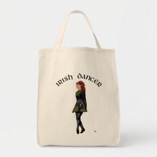 Irish Step Dancer - Black Dress, Red Hair Grocery Tote Bag