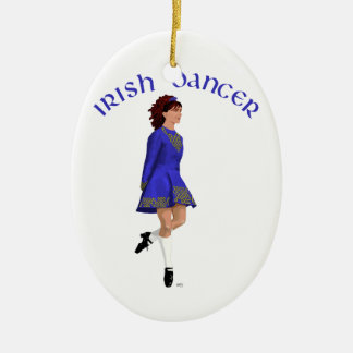 Irish Step Dancer - Blue Ceramic Ornament