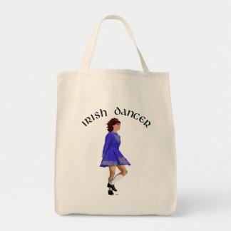 Irish Step Dancer - Blue Dress Grocery Tote Bag