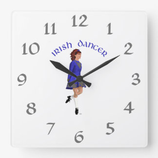 Irish Step Dancer - Blue Square Wall Clock