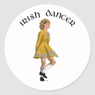 Irish Step Dancer - Gold Dress Classic Round Sticker