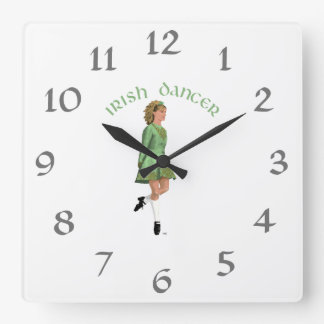Irish Step Dancer - Green Square Wall Clock