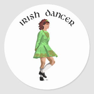 Irish Step Dancer in Green Dress Classic Round Sticker