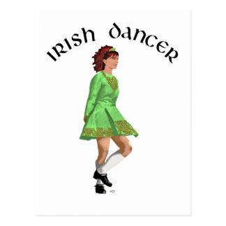 Irish Step Dancer in Green Dress Postcard