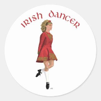 Irish Step Dancer in Red Classic Round Sticker