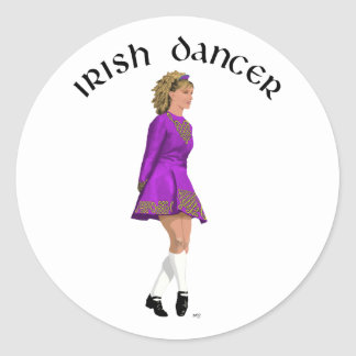 Irish Step Dancer - Purple Classic Round Sticker