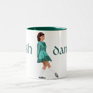 Irish Step Dancer - Soft Shoe - Teal Two-Tone Coffee Mug