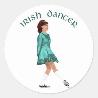 Irish Step Dancer - Teal Classic Round Sticker