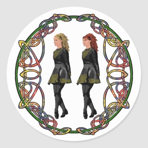 Irish Step Dancers in Celtic Knotwork Surround