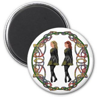 Irish Step Dancers in Celtic Knotwork Surround Fridge Magnets