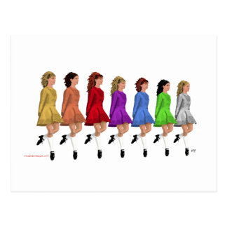 Irish Step Dancers - Rainbow Line of Dancers Postcard