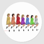 Irish Step Dancers - Rainbow Line of Dancers Stickers