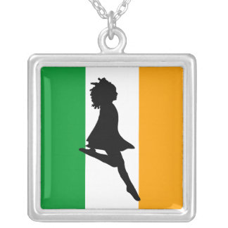 Irish Step Dancing Square Pendant Necklace