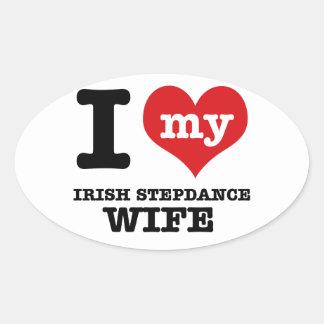 irish stepdance wife oval sticker