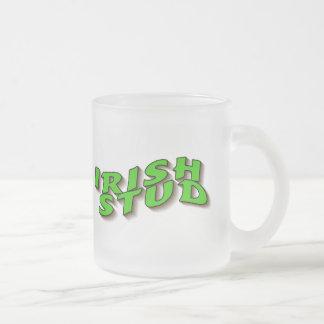 Irish Stud 10 Oz Frosted Glass Coffee Mug