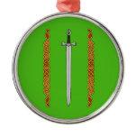 Irish Sword and Knotwork Metal Ornament