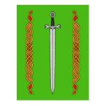 Irish Sword and Knotwork Postcard