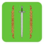 Irish Sword and Knotwork Square Sticker