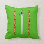 Irish Sword and Knotwork Throw Pillow