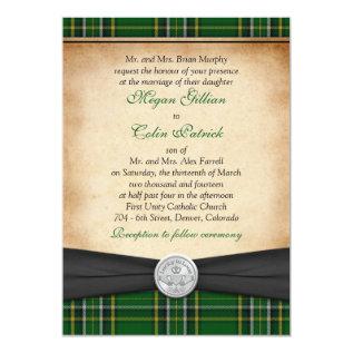 Irish Tartan Celtic Claddagh Lucky in Love Wedding Card at Zazzle