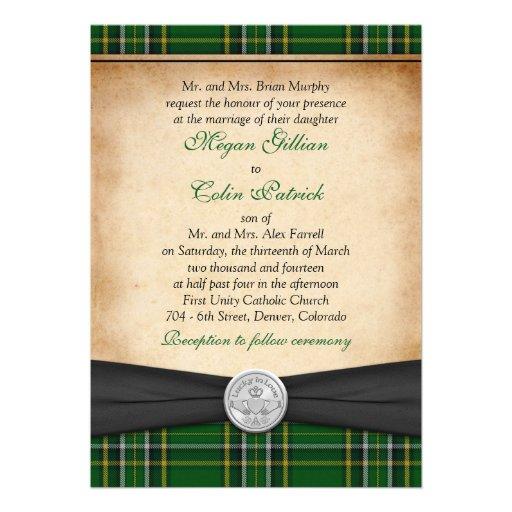Irish Tartan Celtic Claddagh Lucky In Love Wedding 5x7 Paper Invitation Card