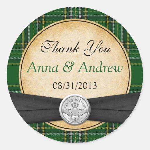Irish Tartan Celtic Claddagh Lucky in Love Wedding Classic Round Sticker