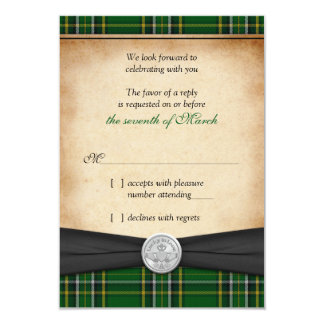 Irish Tartan Celtic Claddagh Lucky Wedding RSVP Card